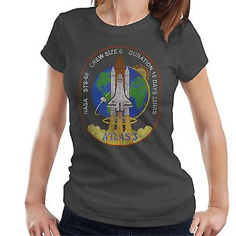 NASA STS 66 Atlantis Mission Badge Distressed Women's T-Shirt