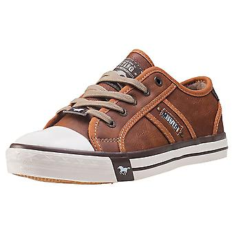 Mustang Rubber Toe Cap Casual Low Womens Casual Trainers in Chestnut