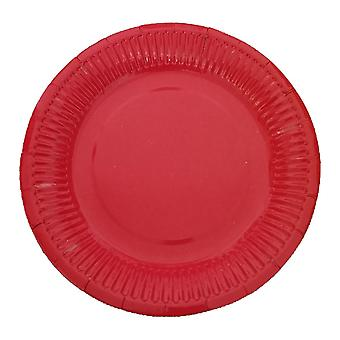 10 PCS Disposable Round Paper Plates 7 Inch Red