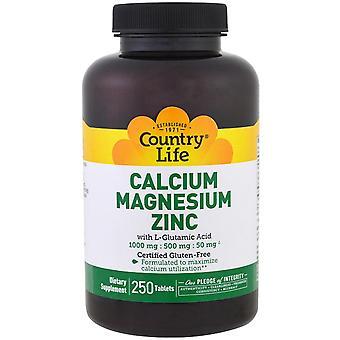 Country Life, Calcium Magnesium Zinc, 250 Tablets