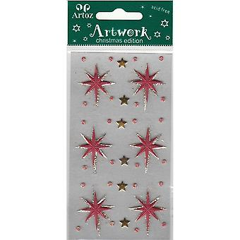 Large Red/Gold Christmas Star Craft Embellishment By Artoz