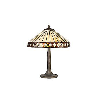 Luminosa-valaistus - 2 vaaleaa puuta, kuten pöytävalaisin E27 40cm Tiffany-sävyllä, keltainen, kristalli, ikääntynyt antiikki messinki