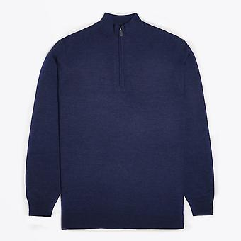 Thomas Maine  - Merino Half Zip Sweater - Blue