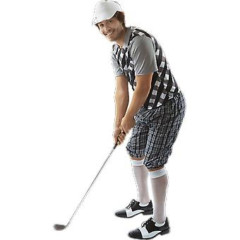 Mens Black & witte Pub Golf Sport hert nacht leuk Fancy Dress kostuum