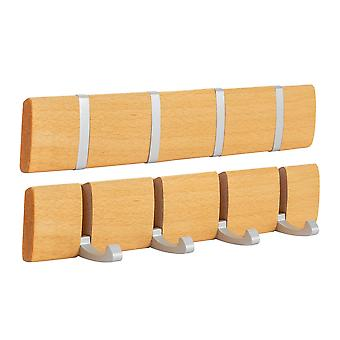 Wooden Wall Mount Coat Rack - 4 Foldaway Metal Hooks - Brown - Pack of 3