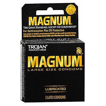 Trojan Magnum Lubricado Preservativos de Látex, Grande, Pacote de 3