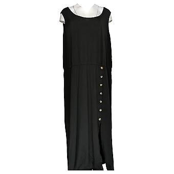 Nina Leonard Plus Dress Sleeveless Maxi With Elastic Waist Black 691-477