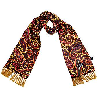 Ties Planet Tootal Burgundy, Gold, Red, Green & Navy Large Paisley Men's Silk Thin Scarf