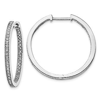 30mm 14k White Gold Polished Diamond In and Out Hinged Hoop Earrings Jewelry Gifts for Women