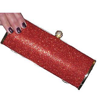Damen Metallic Glitter Abend Clutch Tasche funkelnden Diamante Prom Party Kette Schulter Handtasche Geldbörse für Frauen