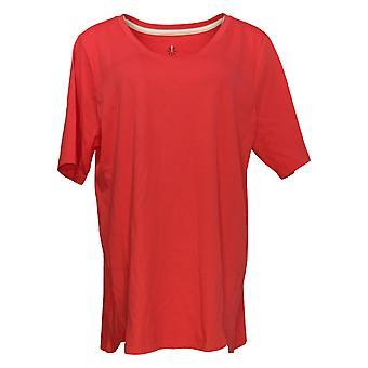 إسحاق مزراحي لايف! Women's Top Tulip Hem Pima Cotton Red A379612