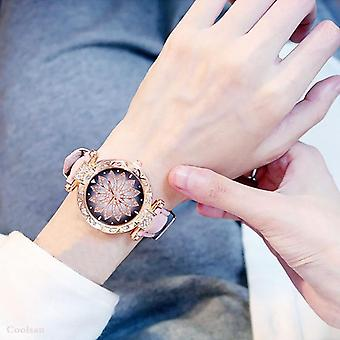 Luxury Starry Sky Ladies Bracelet Watch Casual Leather Quartz Watch Wristwatch