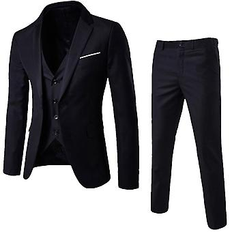 Men 3 Pieces Classic Sets Business Blazer +vest +pants Suits Sets