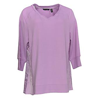 H By Halston Women's Top V-Neck Mixed Media French Terry Tunic Pink A350388