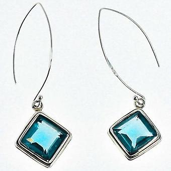 Radiant Blue Topaz Gemstone Earrings