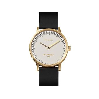 Leff Amsterdam LT74613 T32 Brass/White Case Black Leather Strap Wristwatch