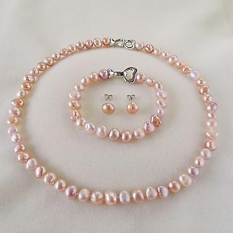 Silver Necklace/bracelet/earrings Jewelry Pearl Sets