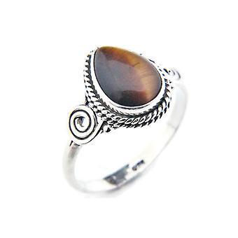 Ring Zilver 925 Sterling Silver Tiger Eye Brown Stone (Nee: MRI 79)