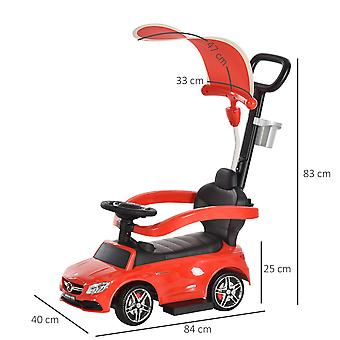 HOMCOM Compatible for 3 in 1 Ride on Push Car for Toddlers Stroller Sliding Walking Car with Sun Canopy Horn Sound Safety Bar Cup Holder Toy for 1-3 Years Old Kids Red