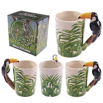 Uutuus keraaminen viidakkomuki, jossa toucan-muotoinen kahva