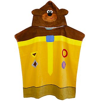 Cbeebies Hey Duggee 3D Ears Poncho Towel For Kids | One Size Hooded Bath Towelling Robe For Boys & Girls | Beach Swim Cover Up for Children & Toddlers
