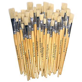 Major Brushes Hog Short Flat Assorted Pack 60 / 10 size 4, 6, 8, 10, 14, 18