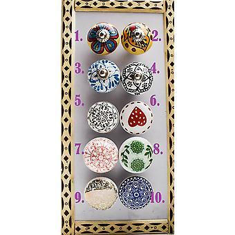 Keramiska mönstrade dörrknoppar - För skåp och lådor
