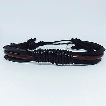 Pulsera hecha a mano en auténtico cuero negro marrón para los hombres