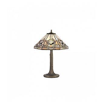 Lámpara De Mesa Tiffany Cindy 2 Bombillas Gris / Blanco 29,5 Cm
