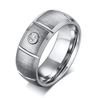 Anello di fidanzamento in carburo di tungsteno d'argento