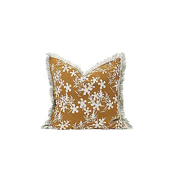 Set of 2 Amber and White Floral Decorative Accent Pillows