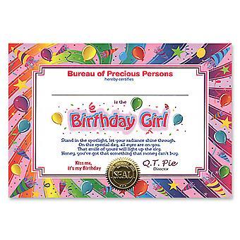 Certificado de cumpleañera (pack de 6)