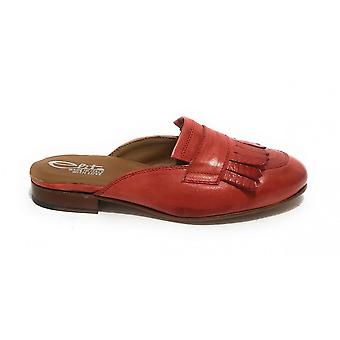 Women's Shoes Elite Sabot With Fringes In Red Leather Pompeii Ds21el02