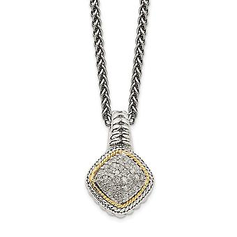 925 Sterling Silver With 14k Diamond Pendant Necklace Jewelry Gifts for Women - .20 dwt
