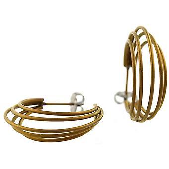 Ti2 Titan Stora Wire Hoop Örhängen - Svart