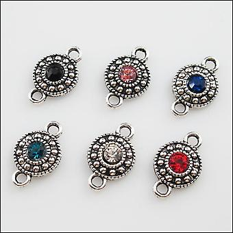 Tibetan Silver Mixed Crystal Round Charms, Pendants, Connectors