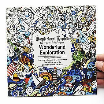 Creative English Version, Wonderland Exploration Coloring Book For Adult,