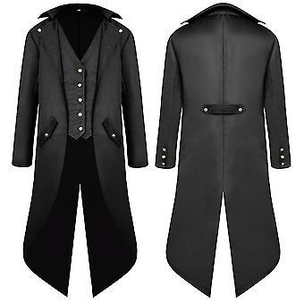 Noir 3xl hommes moyen âge ancien manteau queue robe longue queue cai1081