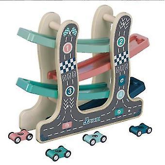 A7713 # منحدر سباق المسار اللعب مع سيارات صغيرة خشبية للأطفال والأطفال الصغار az2032
