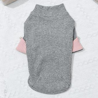 Spring and autumn contrast color sweater pet clothing cat clothes