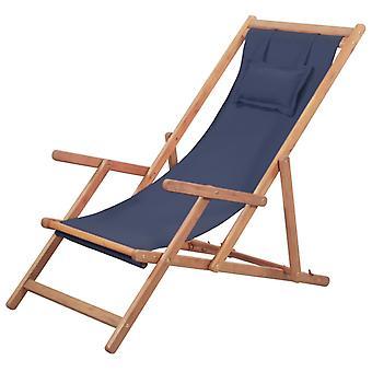 vidaXL Taittuva rantatuoli kangas ja puinen runko sininen