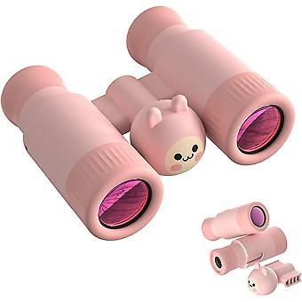 Kiikarit lapsille, 10 x 28 Kompakti iskunkestävä kiikari, Erinomainen ulkoretkeilyyn, lintujen tarkkailuun, matkustamiseen,(vaaleanpunainen)