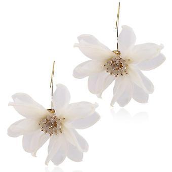 Ladies Korean Design Autumn Winter Flower Earrings White