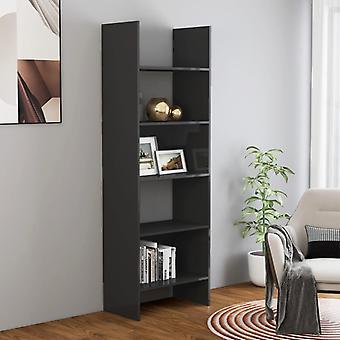 vidaXL bibliothèques gris brillant 60x35x180 cm panneau de particules