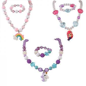 3 Sets Girl Princess Necklace Bracelet