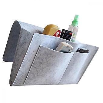 Organisateur de rangement de chevet, sac en feutre pour tv télécommande livre lunettes de téléphone portable, gris clair