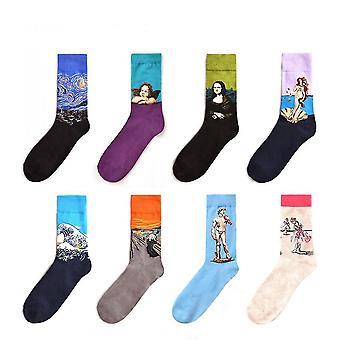 8-12 Pack Men's Colorful Dress Socks(Dark Blue)