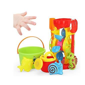 Doble rueda de arena playa juego de juegos para niños con cubo, palas, rastrillos (GROUP3)