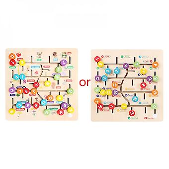 Wooden Number Alphabet English Matching Track Maze Game Kids  Education Toys