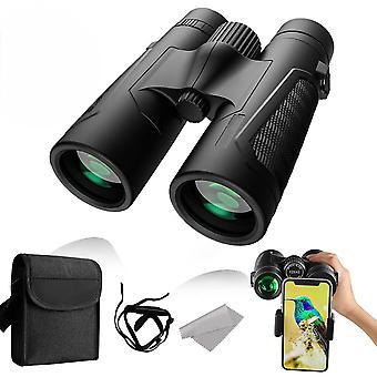 12x42 Binoculars, HD Wide Field of View Binoculars with Smartphone Adapter, 16.5mm Wide Angle Prism,